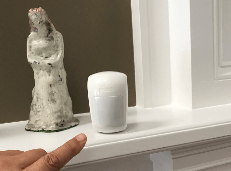 wireless motion detector install on Florida home mantle