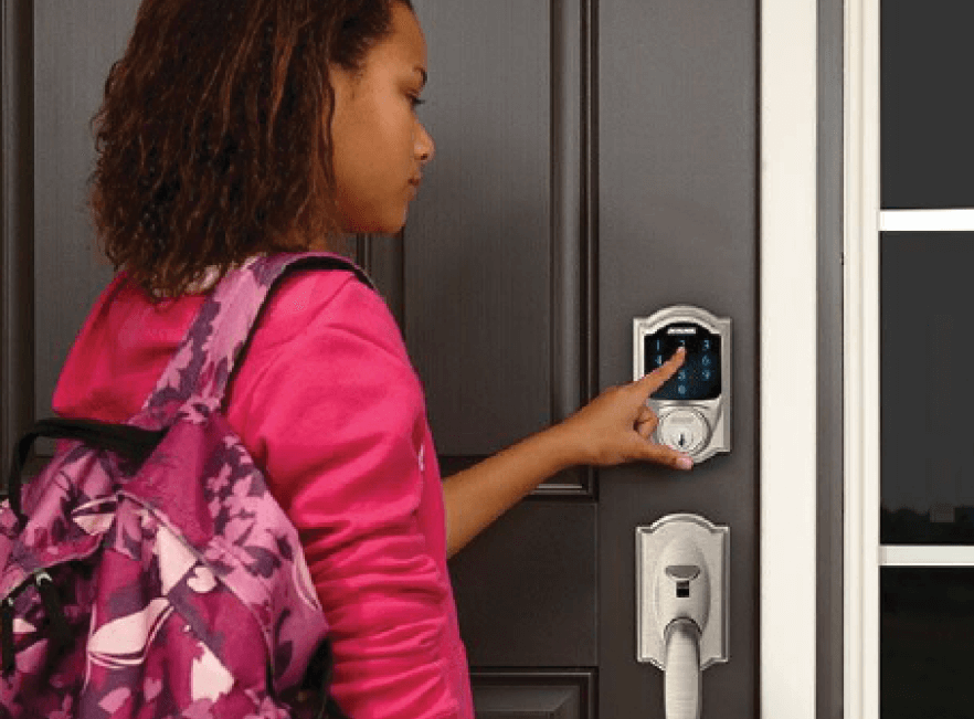 Woman opening a smart lock in Florida